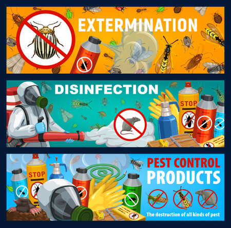 Disinfection banners, insect and rats control repellent products. Exterminator spraying insecticide with cold against insects and rodents. Pest extermination, deratization toxic remedy