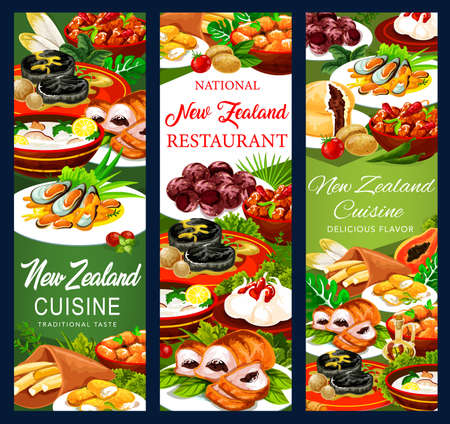 New Zealand food cuisine,  pork with apples and prunes, afghan cookies, Pavlova cake, mussels with cheese, oyster soup, steak, meat pie, roast lamb with chutney, baked pork with vegetable banners