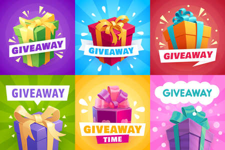 Giveaway gifts, give away competition banners and contest winner, posters. Giveaway free prize and gift boxes with ribbons, quiz and social give away promo award, gifts with golden ribbons