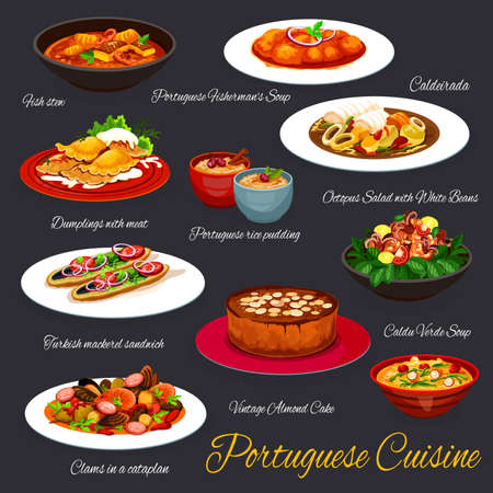Portuguese cuisine food, Portugal restaurant menu dishes, traditional meals. Portuguese cuisine sardine fish stew, fisherman soup caldeirada, seafood octopus with white beans and almond cake