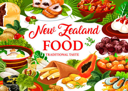 New Zealand cuisine, dishes pork with apples and prunes, afghan cookies. Pavlova cake, oyster soup, meat pie, fish and potatoes. Roast lamb with chutney, baked pork with vegetables NZ food meals Illustration