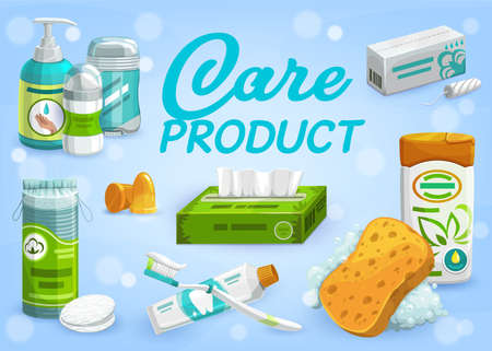 Hygiene, cosmetics and care products. Liquid soap or hand cream, dry deodorant or antiperspirant, sanitary tampons, cotton discs and napkins, ear plug, toothpaste and brush, shampoo and sponge