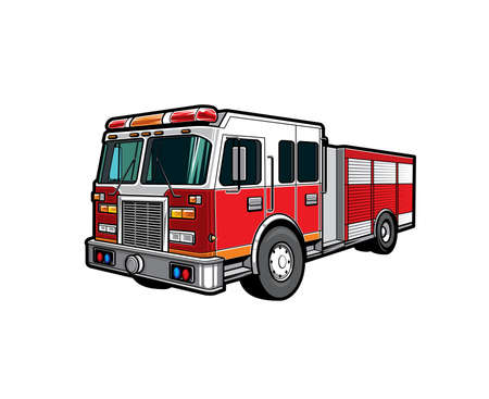Fire engine truck or firetruck car icon, firefighter vehicle. Firefighting lorry, fireman emergency rescue, transport, side front view flat car with classic siren alarm and water tank hose Vektorové ilustrace