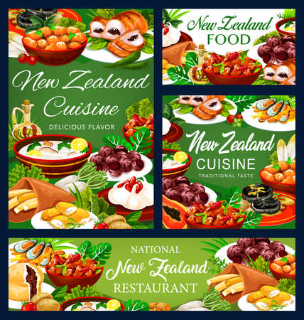 New Zealand cuisine, dishes afghan cookies, Pavlova cake, mussels with cheese, oyster soup, steak, meat pie, fish and potatoes, roast lamb with chutney, baked pork with vegetables posters