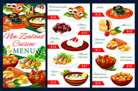 New Zealand cuisine menu template. Meals pork with apples and prunes, afghan cookies. Pavlova cake, mussels with cheese, oyster soup, meat pie, fish and potatoes, roast lamb with chutney dishes