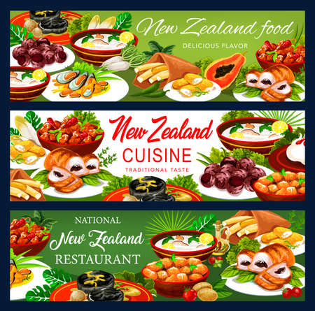 New Zealand cuisine pork with apples and prunes, afghan cookies, Pavlova cake, mussels with cheese, oyster soup, steak, fish and potatoes, roast lamb with chutney, pork with vegetables banners Illustration
