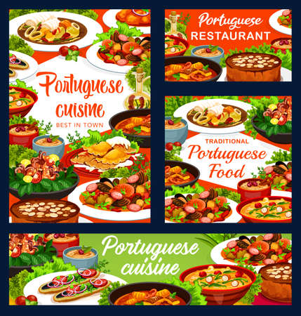 Portuguese cuisine vector fish stew, dumplings with meat and caldeirada.