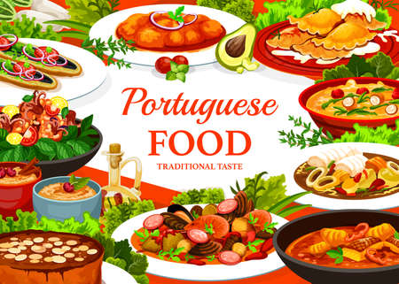 Portugal cuisine vector caldy verde soup, fish stew and dumplings with meat. Turkish mackerel sandwich, calms in cataplana and vintage almond cake. Octopus salad with beans, portuguese fisherman soup