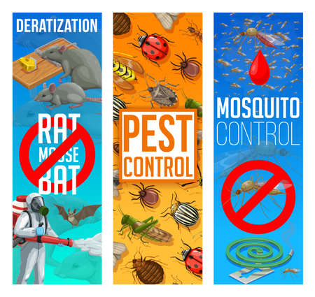 Pest control, disinfestation and deratization vector banners. Vectores