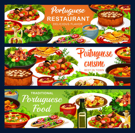 Portugal food vector banners octopus salad with white beans, caldy verde soup and fish stew. Dumplings with meat, caldeirada and portuguese rice pudding, calms in cataplana, vintage almond cake meals Ilustração