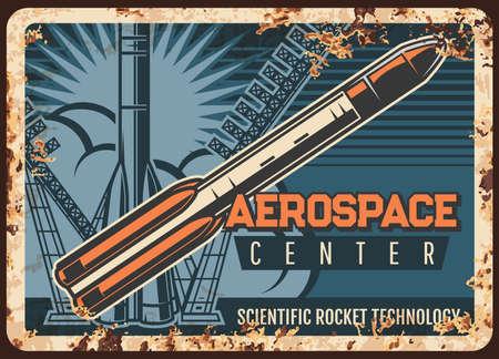 Aerospace center vector rusty metal plate.