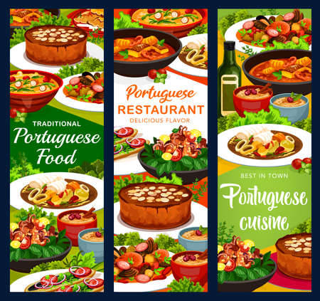 Portugal meals vector banners rice pudding, turkish mackerel sandwich and calms in cataplana, vintage almond cake. Octopus salad with white beans, caldy verde and fisherman soup, Portuguese cuisine