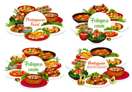 Portugal cuisine vector menu cover fish stew, octopus salad with white beans, caldy verde soup and dumplings with meat. Caldeirada, rice pudding and calms in cataplana. Portuguese meals round frames