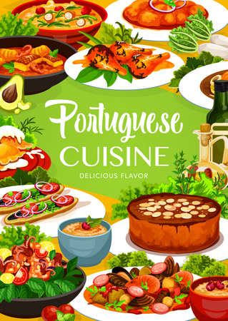 Portuguese cuisine vector fish stew, dumplings with meat and caldeirada, rice pudding and turkish mackerel sandwich. Calms in cataplana, vintage almond, cake and caldy verde soup. Portugal food poster