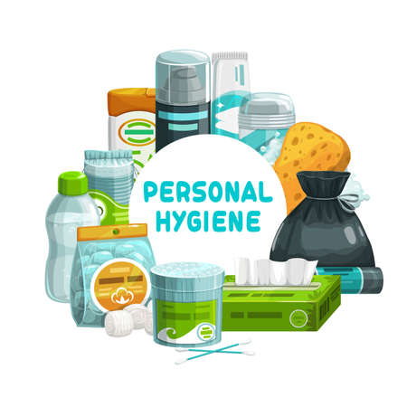 Personal hygiene, bathroom and shower care items, vector banner. Personal hygiene and toiletries, bathroom sponge, toothbrush and toothpaste, shaving gel, cotton buds and wet towel or paper tissue