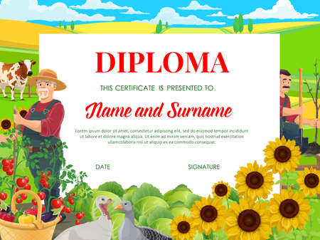 School diploma, education vector certificate with farmers working in garden with fowl and cow graze on field. Kindergarten kids cartoon frame template with cottagers cultivation works on country farm Illusztráció