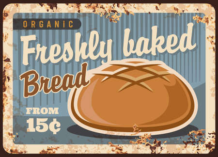 Round wheat bread rusty metal vector plate. Wheat or rye cob, round boule loaf. Bakery or bakeshop ad banner, retro price signboard, vintage signage with fresh bread and rust texture Vector Illustratie