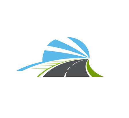 Highway, road isolated vector pathway icon. Two lane curve asphalt speedway with sidewalk, green field and blue sky going into the distance. Driveway symbol, direction and navigation sign for map