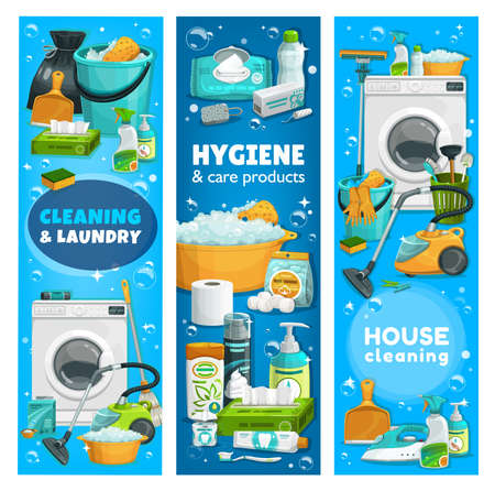 Housework utensils, hygiene and laundry tools. Vector washing machine, toilet plunger. wash detergent. Vacuum cleaner, gloves or brush, house cleaning and care products and supplies cartoon banners