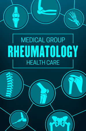Rheumatology, joints and rheumatic disorder medical health care. Vector human skeleton parts hand, foot and pelvis, spine, knee and shoulder joints mri or computed tomography images, medicine poster