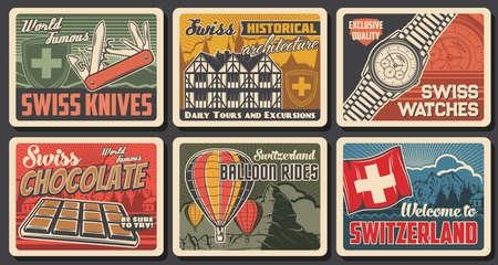 Swiss famous objects and landmarks, vector knife, watches, farvecht houses architecture and chocolate, air balloons rides and Switzerland travel to alps mountains resorts. Swiss culture, tours posters