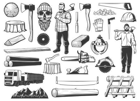 Lumberjack, lumbering and logging wood icons, lumber and forestry industry, vector. Lumberjack logger woodwork man skull beard in hat, woodcutter ax, saw and logging machine, tree logs and stumps Ilustração