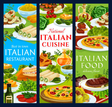 Italian cuisine restaurant meals vector banners. Pizza marinara, spaghetti bolognese and saltimbocca, shrimp tagliatelle, lasagna cannelloni and cassata, beef cannelloni, eggs florentine and polenta 向量圖像