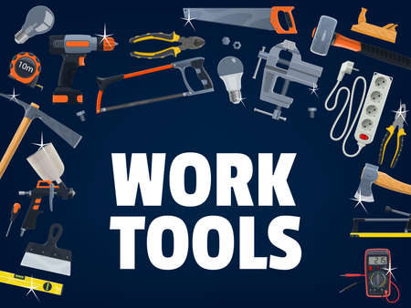 Construction and house repair work tools. Ceramic tile cutter, wood and metal cutting hand saw, electric screwdriver, paint sprayer and ax, sledgehammer and bubble level, pickaxe, jack plane vector Ilustração