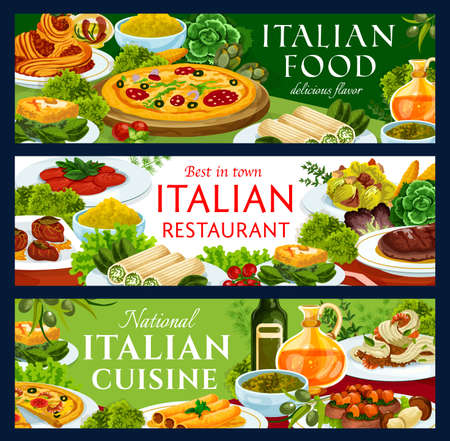 Italian food restaurant vector banners with meals. Pizza with salami, spaghetti bolognese and shrimp tagliatelle in beer, eggs florentine, lasagna cannelloni with spinach and polenta, saltimbocca
