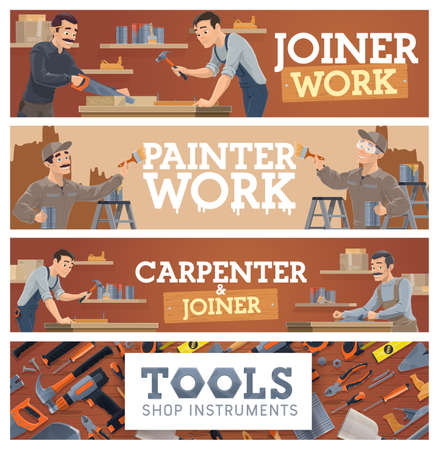 Joiner and carpenter, painting works and tools shop banner. Woodworking craft handyman cutting wood, working with jack plane and hammer nails, painter decorating wall, home repair equipment vector