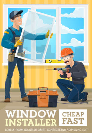 Window installer service banner. Construction workers in uniform, workman setting glass in window frame, handyman with toolbox and electric drill installing mosquito net in apartment room vector