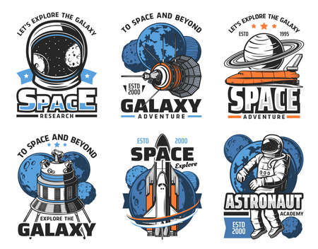 Space adventure, galaxy exploration vector icons. Astronaut in outer space, shuttle orbiter and solar system planets, artificial satellite on Earth and Moon orbit, spacesuit helmet retro illustrations