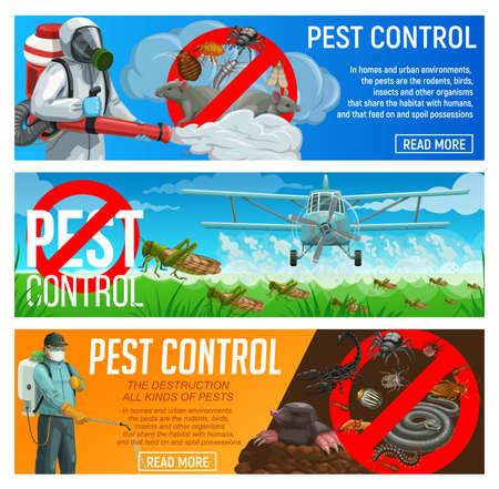 Pest control service vector banners, exterminators and agriculture airplane spraying insecticide against insects and rodents. Pests and field or garden vermin chemical extermination, deratization
