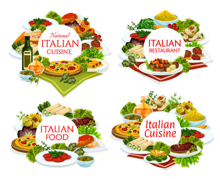 Italian cuisine restaurant dishes round banners. Pizza, veal with porcini mushrooms and carpaccio, eggs florentine, polenta and beef cannelloni, Caesar salad, spaghetti and shrimp tagliatelle vector 向量圖像
