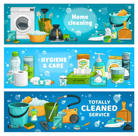 Housework utensils and laundry tools. Vector house cleaning supplies washing machine, basin with foam and toilet plunger. Wash detergent package, vacuum cleaner, gloves and brush, cartoon banners Illustration