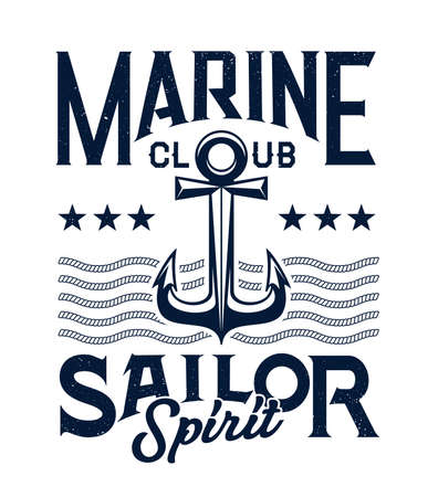 Marine sailing club retro emblem or print. Old style admiralty or fisherman type anchor, rope and stars vector and typography. Sailor spirit, sailing sport club vintage print template