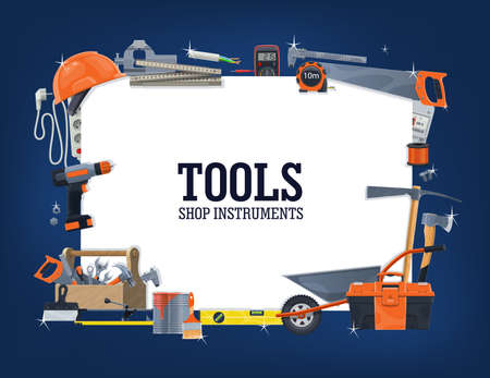 Construction, house repair tools shop banner. Wheelbarrow, toolbox and helmet, carpenter rule, measure tape and level, pickaxe and saw, multimeter, extension cord and tile cutter, screwdriver vector Illustration