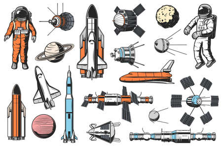 Space and astronomy icons vector set. Astronaut in spacesuit, space shuttle carrier and orbiter, artificial satellites and spaceships, orbital space station and solar system planet retro illustrations Illustration