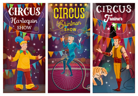 Big Top tent circus artists, performers cartoon characters. Clown in harlequin costume, tiger tamer or handler with whip, acrobat balancing on unicycle at circus arena. Circus show vector banner