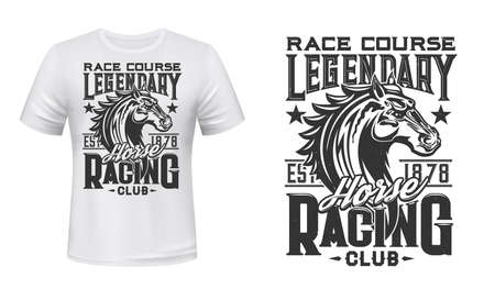 Horse racing club t-shirt vector print. Racehorse stallion head engraved illustration and retro typography. Equestrian sport race, horse riding club competition clothing print design mockup