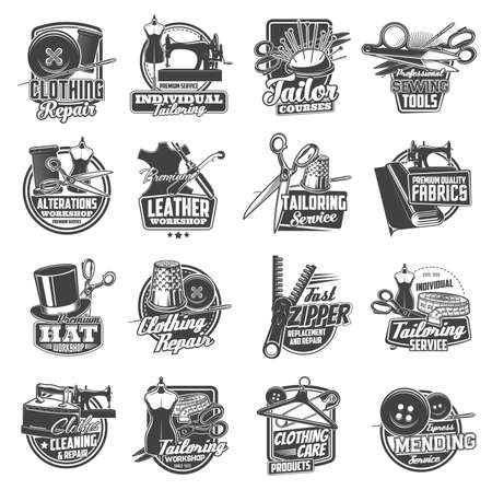 Sewing and tailor icons, atelier and dressmaker shop vector labels. Tailor seamstress and clothing repair service signs, sewing machine, needles and pins, tailoring workshop buttons and thread stitch Vektorgrafik