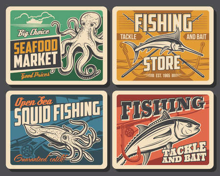 Tuna fish, marlin, squid and octopus vector retro posters. Seafood market or restaurant production. Fishing club activity, tackle store equipment, underwater animals fishing sports or active hobby