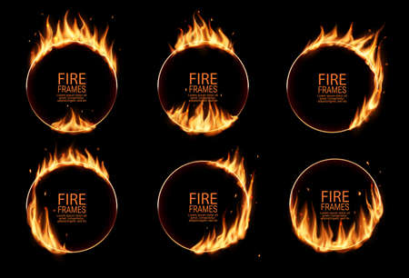 Fire rings, burning vector round frames. Burned hoops or holes in fire, realistic burn circles with flame tongues on edges. 3d flare circles for circus performance, isolated circular borders set