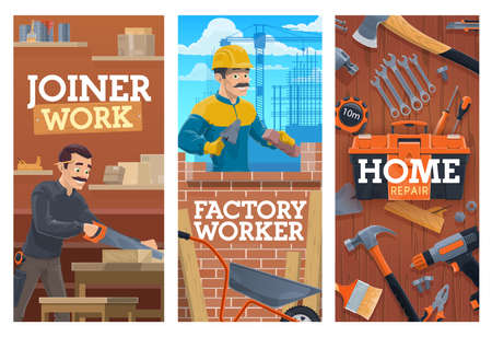 Working builder and joiner, construction and home repair tools banners. Bricklayer laying bricks with trowel, joiner or carpenter in workshop, cutting wooden board with saw, construction tools vector Illusztráció
