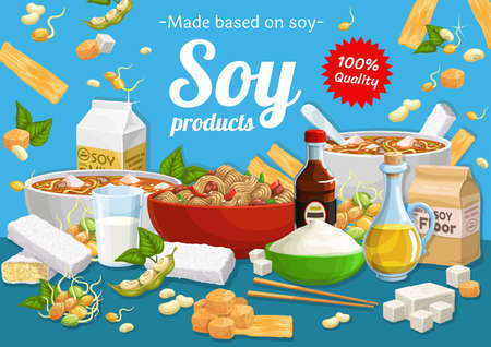 Soy products and soybean food. Vector miso soup, tofu cheese and milk, oil, meat or skin and sprouted soybeans. Natural organic food ingredients, asian cuisine, vegetarian and vegan nutrition poster