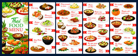 Thailand restaurant meals menu design vector template. Thai cuisine food with chicken, fish and shrimps, dishes with coconut and rise, curry, soup and noodles, baked vegetables and fruit ice cream Illusztráció