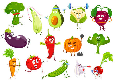 Vegetables sportsmen, vector broccoli, squash and avocado, cauliflower and beetroot. Eggplant, chili petter and pumpkin, spinach, carrot and tomato with cucumber, garlic and radish cartoon veggies Vettoriali