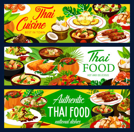 Thai food dishes vector banners. Thailand cuisine curry and ice cream, chicken with vegetables, rice and fish, ginger shrimp, pork satay and bananas in coconut flakes, baked pumping and spicy soup