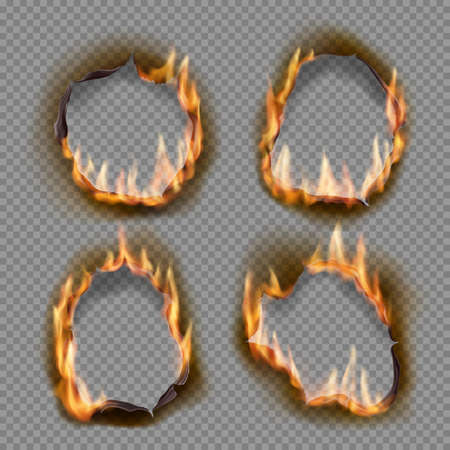 Burning holes, vector burn paper fire with realistic charred edges isolated objects. 3d flame on sheet. Burned abstract holes in fire flames, torn borders and ripped frames on transparent background