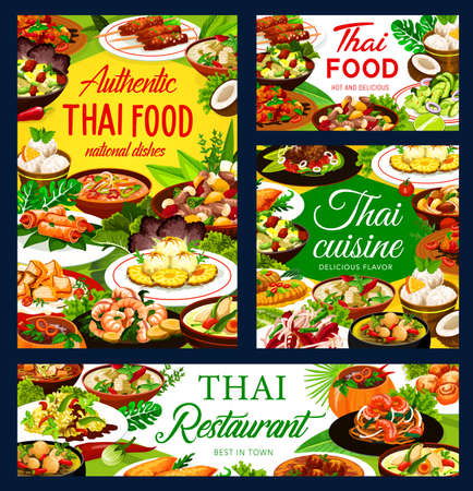 Thailand cuisine restaurant meals banners. Thai food dishes. Spicy curry and soups with chicken and vegetables, rice, noodles and fish meatballs, sweet desserts with pineapple and coconut ice cream